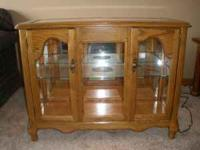 smaller solid oak display case with matching mirror. it