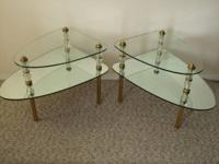 Very nice pair matching end tables, Glass, Mirror and