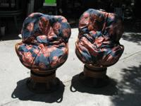 FOR SALE.  Pair of big rattan swivel and rocking