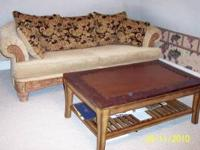 sofa has nice wood trim with chinell fabric $350.00 and