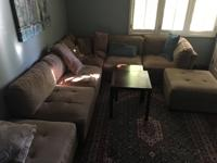 5 sections couch with backrest and 2 additional