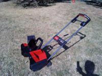 Very nice electric Toro 1800 snow blower. We moved to a