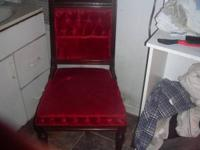 For Sale :Nice Victorian Red Velvet Upholstered Parlor