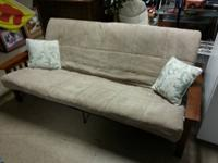 Nice wood Futon with mattress $110  Also available: