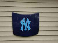Painted Yankees Lawn mower hood.....Asking $45 EMAIL OR