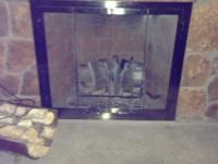 Perfect condition nickel fireplace doors. Glass front.