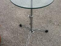 "Nickel Small Table On Wheels $29 17""H x 18""W x 18""D"