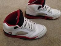 Nike Air Jordan V 5 White Fire Red Black Size : 10