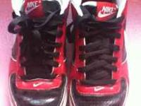 Great pair of Nike Air shoes they are red & black. SIZE