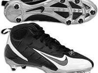 size 8 white and black nike speed screw in football