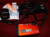 Used Nikon Coolpix, Orange AW100 16 MP, Shock-Freeze &
