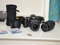 nikon d 60 dslr with two lenses 18-55 and 55-200,