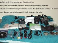 Three DSLR cameras for sale, all with low shutter