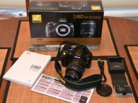 Nikon D60 Camera with a 18 to 55 mm lens. Included is a