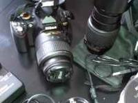 Comes with two different lenses, manuals, DVD, case,