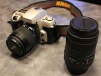 Nikon N60 35mm Film Camera Like New Mint PLus 2 Lenses,