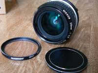 Super clean Nikkor 28mm f/2.8 manual focus lens.