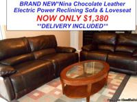 Nina Chocolate Electric Power Reclining Sofa