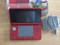 Barely Used Red Nintendo 3DS pre-installed with Mario
