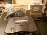 Nintendo 64 system with 2 controllers, all hookups, and