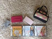 Nintendo DSi. Pink. Game case. Carrying case. Charger.