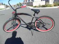 Mens Nirve Cruiser Flat Black with Flames Single Speed