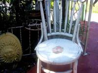 LOVELY OLD WOOD CHAIR WITH ORIGINAL CHIPPY, CRACKLE