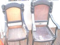2 very unusual novelty wood chair frames. Carved heads