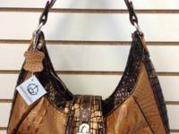 NWOT Fabulous MC Brown Faux Crocodile Leather Hobo Bag