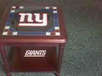 NY Giants Glass Top end table with drawer for sale for