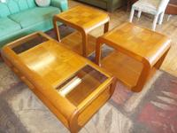 Oak 3 layer coffee table & 2 end tables. Great problem.