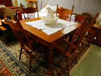 Lovely Oak square 5 leg table with 4 cane bottom