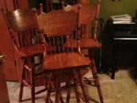 We have 3 very nice oak bar stools for sale. They are