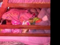 Oak bunk bed in good condition. Top is a twin, bottom