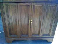 Solid Oak sewing Machine Cabinet with motor. Ready to