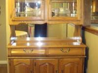 Beautiful Oak China Cabinet. Velvet lined drawers, like