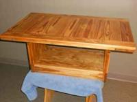 refinished coffee table treated in danish oil and