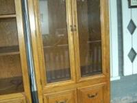Two of Two Oak Wall Units for Sale. This one with