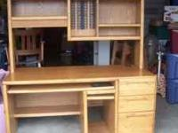 Oak Computer Desk with removable hutch. Two drawers,
