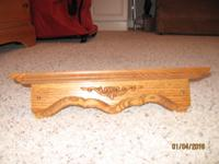 "4 solid oak corner shelves. New. Center depth is 8""."