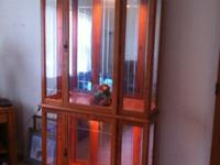 HERE IS A OAK CURIO CABINET 8'X4' VERY NICE SHAPE WHY