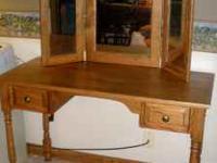 Oak Desk/Dressing Table w/2 Drawers. Solid Oak