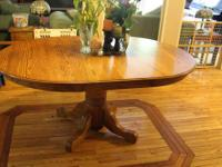 Oak Dining Set. Pedestal table with six chairs (2