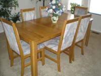 "Light Oak Dining Table 71""x36"" with leaf extension. 6"