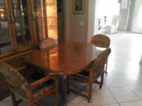 GORGEOUS OAK TABLE, 4 CHAIRS, AND CHINA CABINET. TABLE