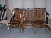 Solid dark oak table and 4 chairs 1 chair needs