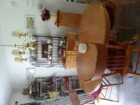 Oak Dinning Table with one leaf 6 chairs .Also Oak