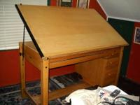 Mayline commercial drafting table-antique-all oak frame