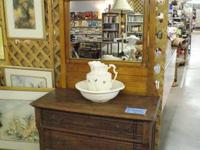 GREAT OAK DRESSER WITH CARVINGS AND MIRROR, THREE