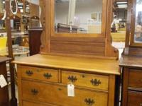 Oak cabinet with mirror. Good woodwork.  $195.  #